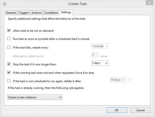 The Settings gives you more options when it comes to how you want the task to behave
