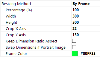The Resizing by Frame methods allows you to keep your ratio aspect and still keep your photos with the set Width and Height