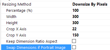 The Settings used to downsize a picture without ratio aspect