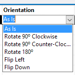 Changing each photos orientation manually using the Orientation Drop down box