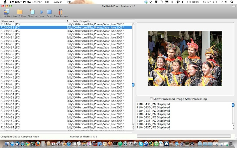 CM Batch Photo Resizer Mac - batch photo resizing, batch photo renaming, sepia, sharpen, blur, oil paint, negative, grayscale, equalize, jpeg, png, tiff, photography, photographs - Batch Photo Resizing and Renaming Tool