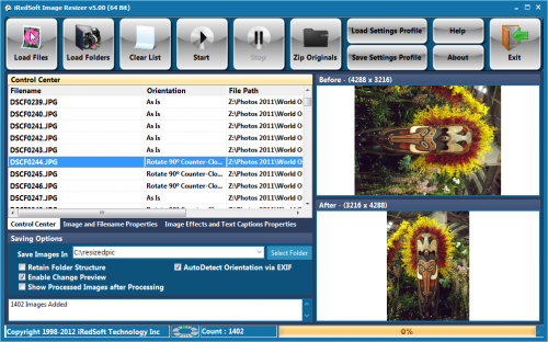 iRedSoft Image Resizer screenshot: image resizer, jpeg, bmp, png, jpeg 2000, image editor, resizing, add image shadow