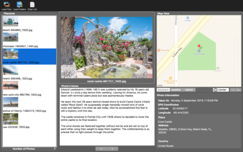 Memory Pics Viewer is a free mac app which lets you view GPS Coordinates and the Journal Entries which is embedded in the Photo