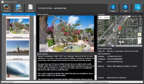 Windows Version of the Memory Pics Viewer which lets you visualize Maps and Notes in Photos